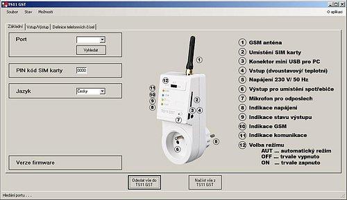 Po instalaci softwaru uvidíte tuto obrazovku ve které musíte přidělit rozhraní USB a stáhnete si i základní nastavení zásuvky. Jak vidíte, máte tu i základní popis.