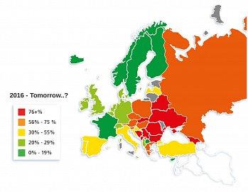 Používání hotovosti v Evropě v roce po roce 2014.