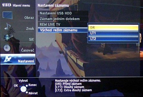 Panasonic nabízí pro nahrávání tři režimy záznamu. Volbu najdete v menu v části Nastavení.