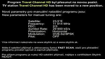 Textová informace, která se objevila na původní pozici stanice Travel Channel HD v satelitní službě Skylink. Obrázek lze zvětšit