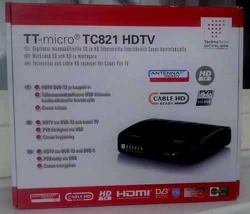 Originální krabice přijímače TT-micro TC821 HDTV.