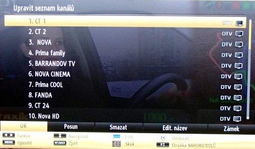Takováto obrazovka se vám nabídne po naladění. Setřídění kanálů je stejné jako u značky Hyundai a také stejně snadné a pohodové, a to jak na DVB-T, tak na DVB-S.