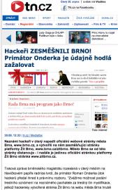 Tn.cz vydává zprávu o hacku brněnského webu