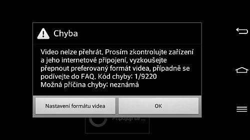 Chybová hláška, která se objeví na obrazovce po spuštění kanálů Golf Channel nebo Sport 5