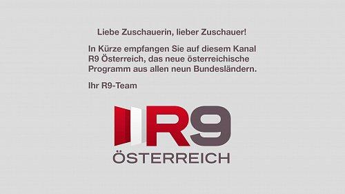 Zkušební obrazovka připravovaného kanálu R9 Oesterreich HD