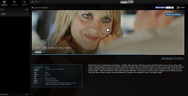 Stránka s on-line lineárním vysíláním HBO. Fotku lze zvětšit.