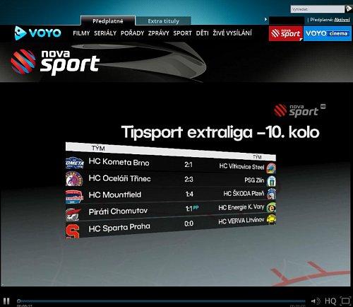 Vysílání Novy Sport v rámci portálu Voyo.cz