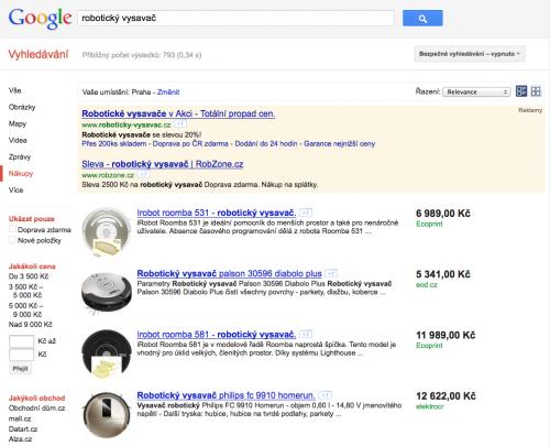 Google Nákup a jeho přehled o robotických vysavačích. Roomba nebo CleanMate? To jsme řešili už i na Lupě :)