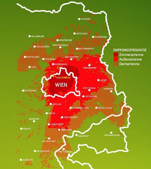 Předpokládaná mapa pokrytí signálem z vídeňského vysílače Kahlenberg zveřejněná na stránkách komerčního kanálu ATV II.