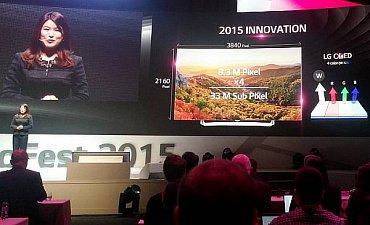 Prezentovány byly OLED televizory se čtyřmi subpixely v rámci jednoho obrazového bodu pro rozlišení Ultra HD. To bude letos v drtivé většině produkce LG Electronics.