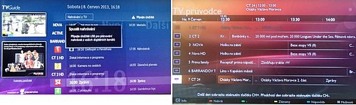 EPG vlevo si bere data z internetu, vpravo pak z televizní sítě a v tomto okamžiku v něm přijdete o zvuk i obraz. Nicméně nahrávat, a nechat se na pořad upozornit, můžete i bez internetu a dříve tomu tak u televizorů této značky nebývalo.