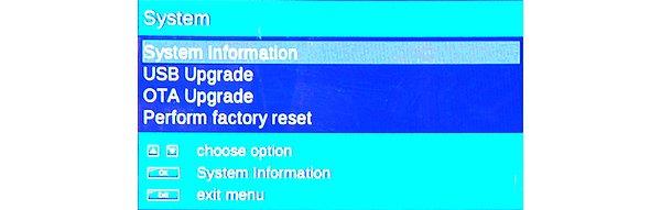 Upgrade firmware je možné pomocí USB externího disku, DVB vysílání, nebo kabelovou síť OTA.