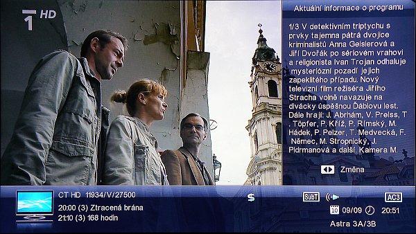 Informační lišta se zobrazuje v dolní části obrazovky se základními informacemi o příslušném programu. Můžeme si zobrazit i aktuální rozšířený popis o vysílaném programu, který se zobrazí v pravé části obrazovky, což je velmi praktické.