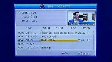 """V EPG je k dispozici jediný, ale za to à la televizní náhled pro pět stanic. Podrobnější popisek vyvoláte """"OK""""."""