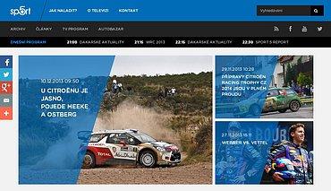 Náhled webových stránek tematického kanálu Sport 5