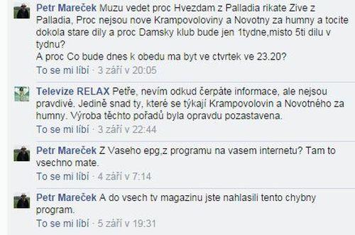 Diskusní vlákno týkající se pozastavení natáčení pořadů Novotný za humny a Krampovoloviny.