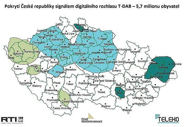 Mapa pokrytí Česka signálem DAB za všechny tři operátory.
