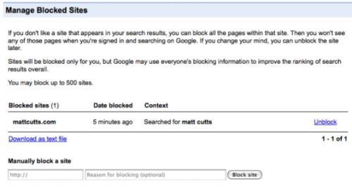 Nastavte si blokovaný obsah, který vám Google z výsledků vyhledávání vyfiltruje. Zatím jen ve vašich. Ale možná, jednou, podle něj zablokuje všechny.