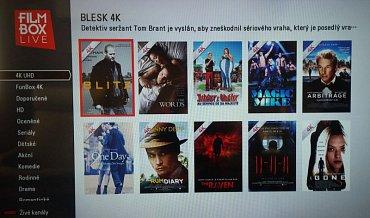 Seznam 4K titulů na úvodní stránce služby FilmBox Live
