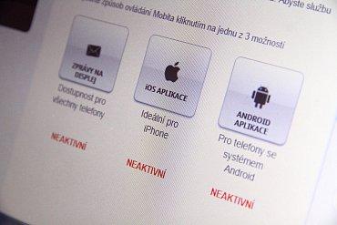 Po odpojení na Mobito portálu se zobrazí ikona aplikace jako neaktivní.