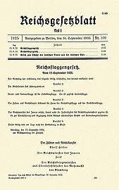 První stránka norimberských zákonů z roku 1935 (Wikipedie)