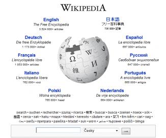 titulní stránka wikipedie