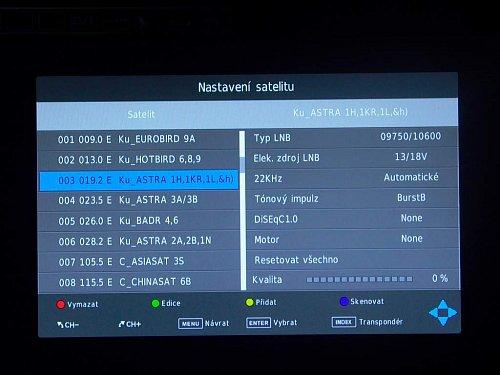 Možností nastavení satelitního tuneru sice dovolují úpravu některých parametrů, ale nešlo mi pustit skenování vybraného programu podle nastavených parametrů. Další přeskenování družice maže předchozí nastavení kanálů.