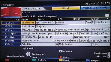 EPG pod Firefoxem ztratilo jeden náhled (ten s programem vypsaným na výšku), funkce jsou ale prakticky stejné. Vadilo mi spíše – a to mi vadí i jinde –, že si na DVB-T nestahuje program pro všechny multiplexy najednou. Máme tu přece multitaskový operační systém, takže proč ne?