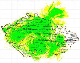 Předpokládaná mapa pokrytí České republiky VKV signálem Rádia Plus veřejnoprávního rozhlasu. Mapu lze zvětšit