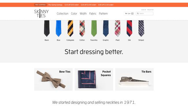 Obchod Skinny ties sází na jednoduchý grafický design a rozložení stránky.