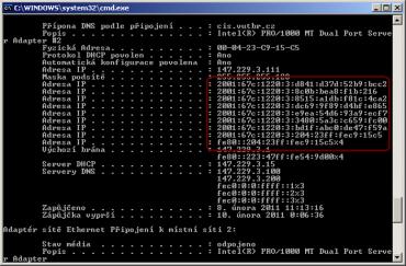 Dočasné IPv6 adresy v systému Win XP