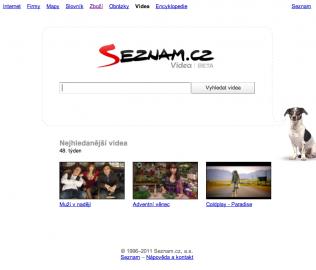 Screenshot titulní stránky Videa.seznam.cz