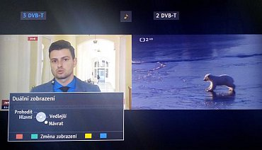 """V APPS najdete i volbu """"Více oken"""", která zajistí promítnutí obrazu z druhého tuneru, což může být nejen DVB-T, ale i třeba DVB-S, či jakýkoli jiný vstup. Na fotografii vidíte základní náhled, další najdete u volby domácí obrazovky."""