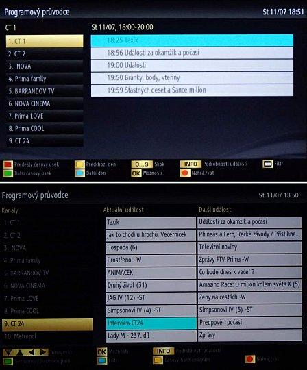 EPG nabízí dvojí náhled – dvousloupcový, bez možnosti posunout se na další pořad, a výpis více pořadů naráz pro jednu stanici.