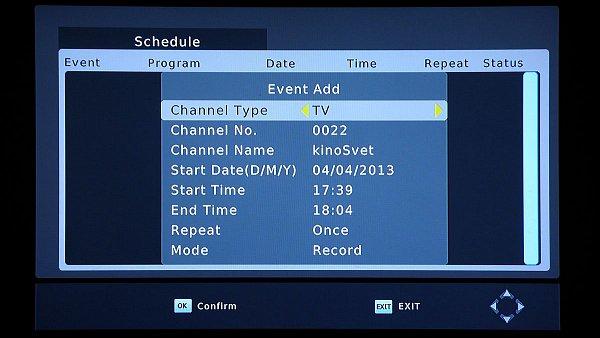 Zobrazení programování nahrávky z EPG s kontrolou a možnou změnou začátku a konce akce.
