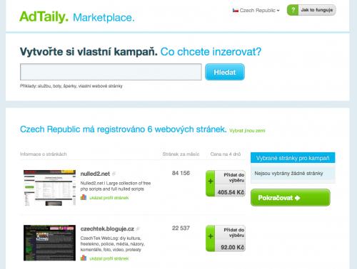 AdTaily Marketplace - kupte si reklamní prostor na týden za pevnou cenu.