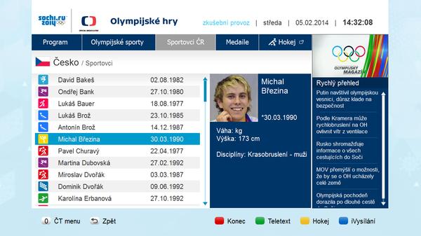 Ukázka z hlavní aplikace Olympijské hry.