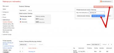 Obrázek: Aktuální soubor sitemap.xml otestujeme pomocí formuláře.