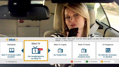 Ukázka lišty pro hybridní vysílání stanice Bibel TV