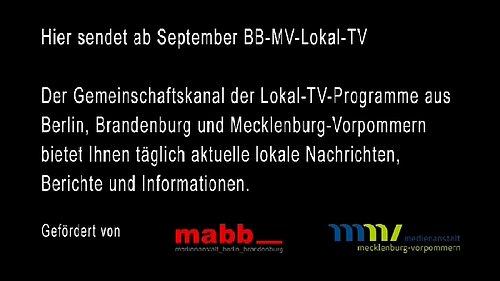 Testovací obrazovka dostupná na programové pozici BB MV Lokal TV.