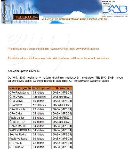 Původní podoba webu společnosti Teleko, na dnešní dobu již velmi graficky zastaralá