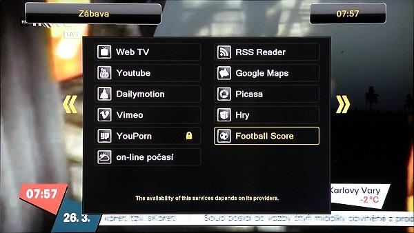 Po připojení k síti můžeme využívat menu zábavy