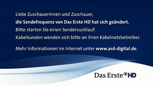Nekódovaný německý veřejnoprávní kanál Das Erste HD upozorňuje diváky na nutnost přeladění satelitního vysílání.
