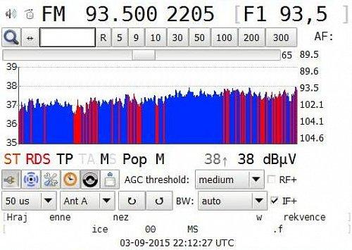 Původní označení Frekvence 1 na rozhlasových přijímačích. Tento příklad ukazuje konkrétně vysílač Ústí nad Labem - Buková hora