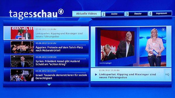 V HbbTV si na německých kanálech můžete spouštět například poslední vysílané zprávy (tagesschau).