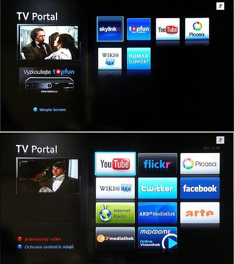 Vstupní obrazovky do TV Portálu