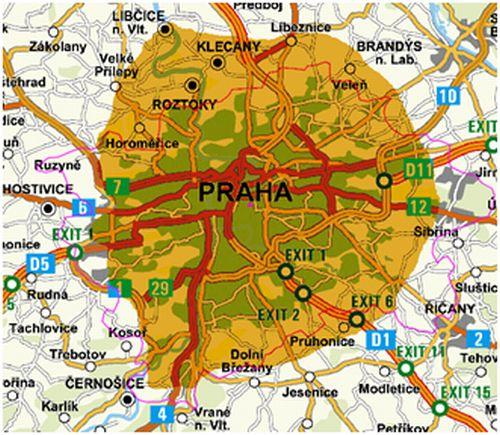 Pokrytí signálem digitálního rozhlasu šířeného Českými Radiokomunikacemi z vysílače Žižkov.