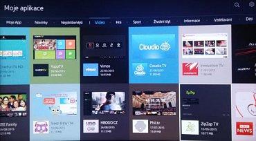 """Nabídka """"Moje aplikace"""" nabízí spoustu možností jak si televizor užít. Jak vidíte, nechybí ani HBO Go CZ."""