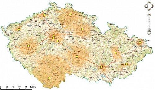 Pokrytí signálem multiplexu 4, které na svých stránkách dtv.ctu.cz uvádí Český telekomunikační úřad