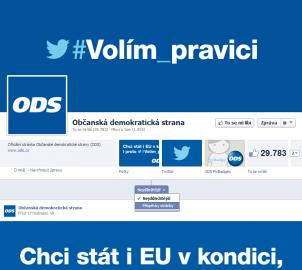 Stránka ODS na Facebooku, bez možnosti přispět